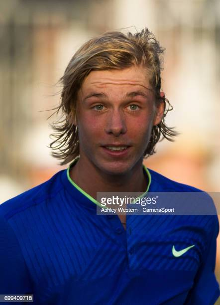 Denis Shapovalov of Canada leaves the court after his defeat by Tomas Berdych of The Czech Republic in their Men's Singles Second Round Match during...