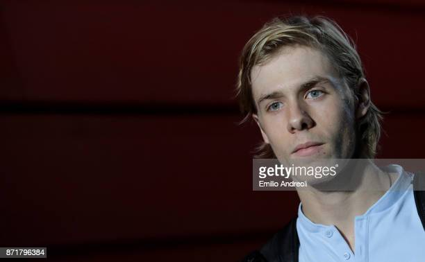 Denis Shapovalov of Canada looks on prior to the match against Gianluigi Quinzi of Italy during Day 2 of the Next Gen ATP Finals on November 8 2017...