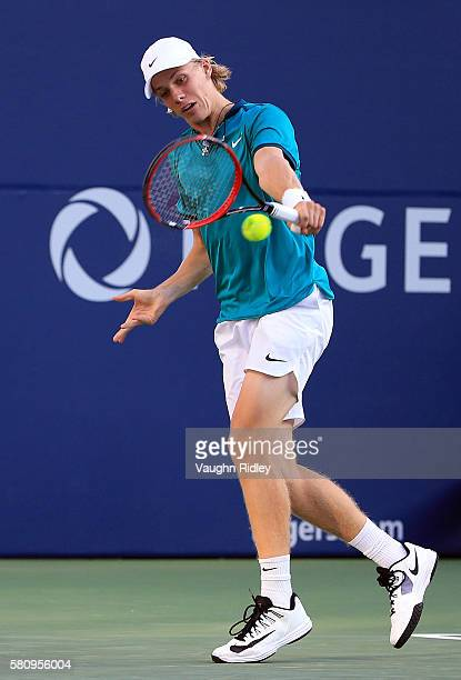 Denis Shapovalov of Canada plays a shot against Nick Kyrgios of Australia during Day 1 of the Rogers Cup at the Aviva Centre on July 25 2016 in...