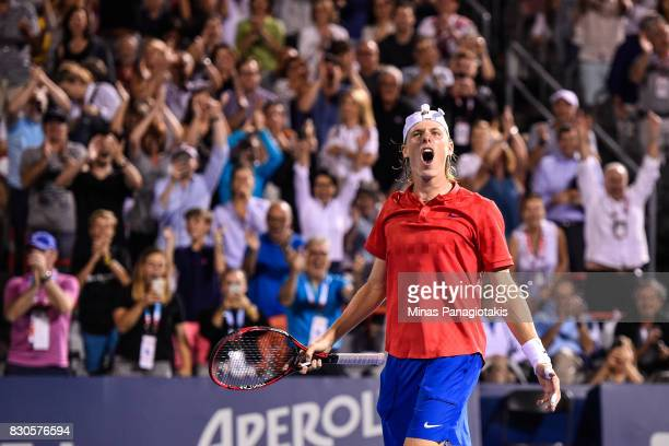 Denis Shapovalov of Canada reacts after defeating Adrian Mannarino of France during day eight of the Rogers Cup presented by National Bank at Uniprix...