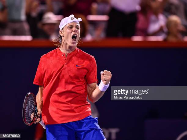 Denis Shapovalov of Canada reacts after scoring a point against Adrian Mannarino of France during day eight of the Rogers Cup presented by National...