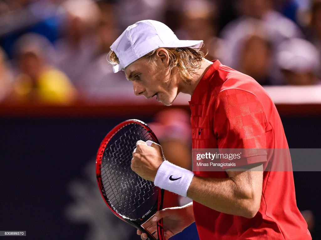 Denis Shapovalov of Canada reacts after scoring a point against Alexander Zverev of Germany during day nine of the Rogers Cup presented by National Bank at Uniprix Stadium on August 12, 2017 in Montreal, Quebec, Canada.