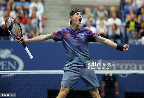Denis Shapovalov of Canada reacts during his fourth round match against Pablo Carreno Busta of Spain on Day Seven of the 2017 US Open at the USTA...