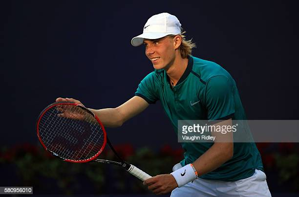 Denis Shapovalov of Canada reacts in his match against Nick Kyrgios of Australia during Day 1 of the Rogers Cup at the Aviva Centre on July 25 2016...