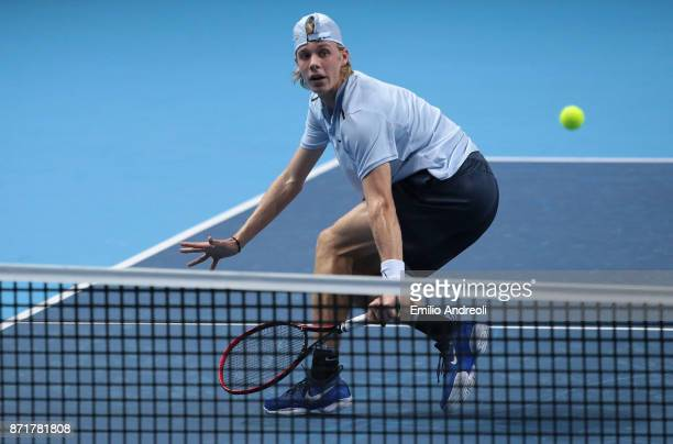 Denis Shapovalov of Canada returns a backhand in his match against Gianluigi Quinzi of Italy during Day 2 of the Next Gen ATP Finals on November 8...