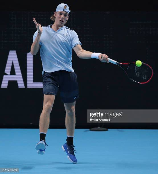 Denis Shapovalov of Canada returns a forehand in his match against Gianluigi Quinzi of Italy during Day 2 of the Next Gen ATP Finals on November 8...