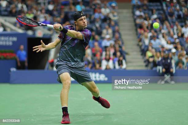 Denis Shapovalov of Canada returns a shot during his fourth round match against Pablo Carreno Busta of Spain on Day Seven of the 2017 US Open at the...