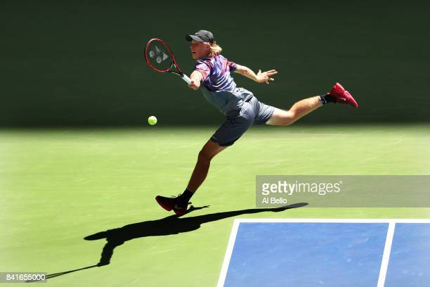Denis Shapovalov of Canada returns a shot to Kyle Edmund of Great Britain during their third round match on Day Five of the 2017 US Open at the USTA...