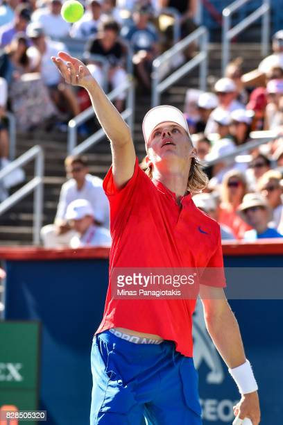 Denis Shapovalov of Canada serves against Juan Martin del Potro of Argentina during day six of the Rogers Cup presented by National Bank at Uniprix...