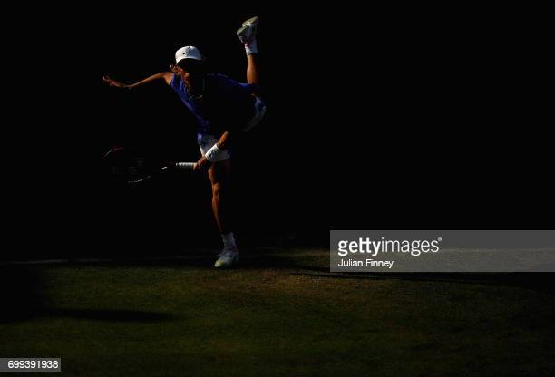 Denis Shapovalov of Canada serves during the mens singles second round match against Thomas Berdych of The Czech Republic on day three of the 2017...