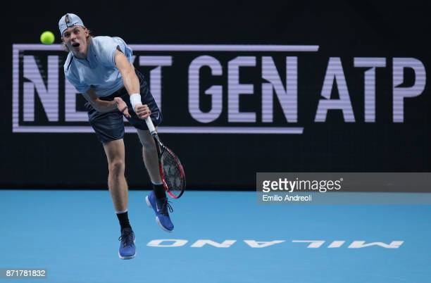 Denis Shapovalov of Canada serves the ball in his match against Gianluigi Quinzi of Italy during Day 2 of the Next Gen ATP Finals on November 8 2017...
