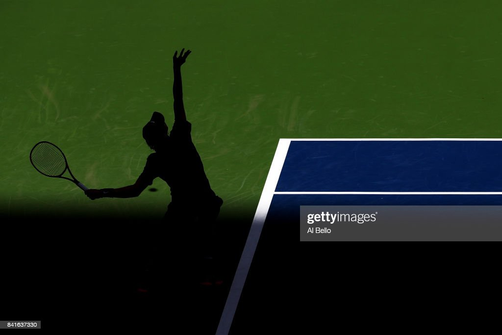 Denis Shapovalov of Canada serves to Kyle Edmund of Great Britain during their third round match on Day Five of the 2017 US Open at the USTA Billie Jean King National Tennis Center on September 1, 2017 in the Flushing neighborhood of the Queens borough of New York City.