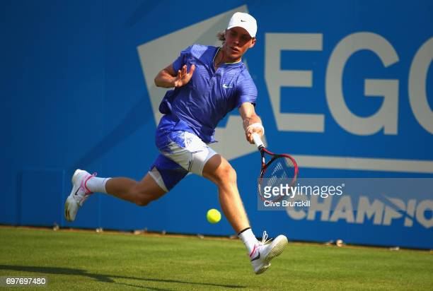 Denis Shapovalov of Canada stretches for the ball during the mens singles first round match against Kyle Edmund of Great Britain during day one of...