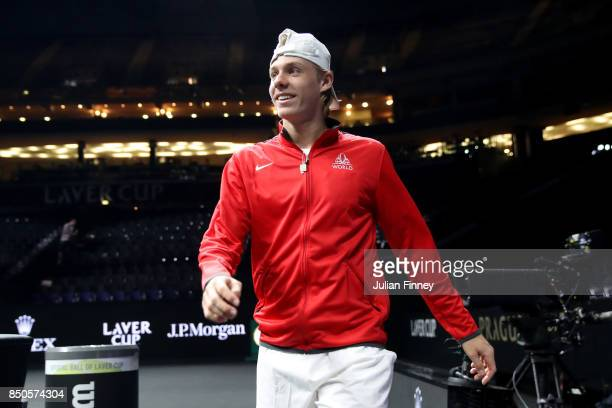 Denis Shapovalov of Team World enters the arena during previews ahead of the Laver Cup on September 21 2017 in Prague Czech Republic The Laver Cup...