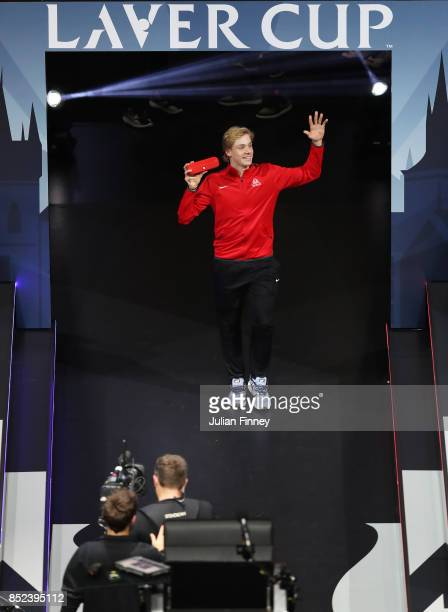 Denis Shapovalov of Team World enters the arena on Day 2 of the Laver Cup on September 23 2017 in Prague Czech Republic The Laver Cup consists of six...