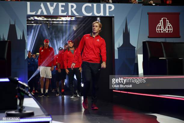Denis Shapovalov of Team World enters the arena on the first day of the Laver Cup on September 22 2017 in Prague Czech Republic The Laver Cup...