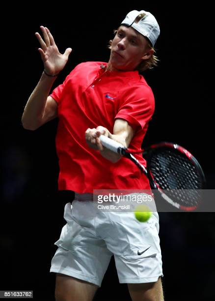 Denis Shapovalov of Team World plays a forehand during his singles match against Alexander Zverev of Team Europe serevs on the first day of the Laver...