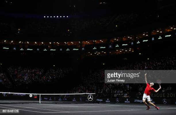 Denis Shapovalov of Team World serves during his singles match against Alexander Zverev of Team Europe serevs on the first day of the Laver Cup on...
