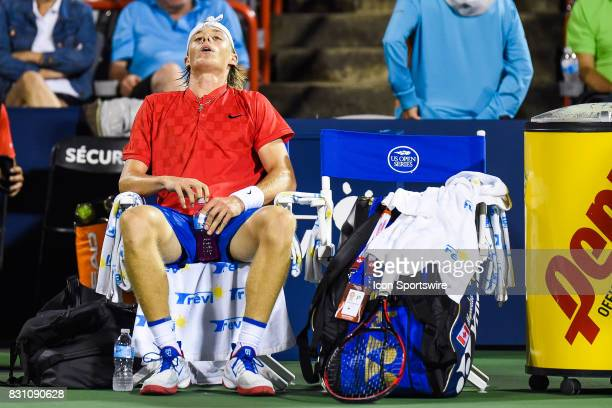 Denis Shapovalov relaxing and unhappy after a set point during his semifinal match at ATP Coupe Rogers on August 12 at Uniprix Stadium in Montreal QC