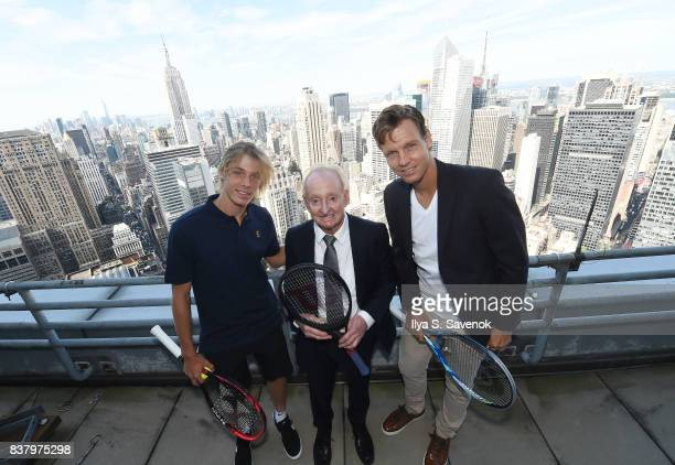 Denis Shapovalov Rod Laver and Tomas Berdych attend Laver Cup Team Announcement on August 23 2017 in New York City