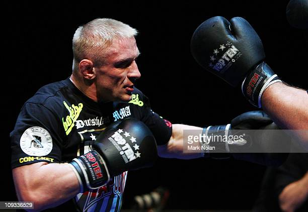 Denis Siver does some glove work during an Open Workout ahead of UFC Sydney 127 at Star City on February 22 2011 in Sydney Australia