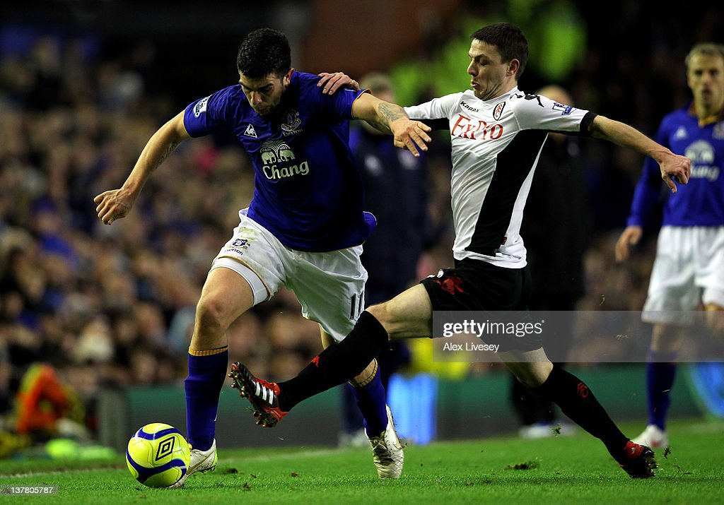 Denis Stracqualursi of Everton is challenged by <a gi-track='captionPersonalityLinkClicked' href=/galleries/search?phrase=Chris+Baird&family=editorial&specificpeople=684127 ng-click='$event.stopPropagation()'>Chris Baird</a> of Fulham during the FA Cup Fourth Round match between Everton and Fulham at Goodison Park on January 27, 2012 in Liverpool, England.