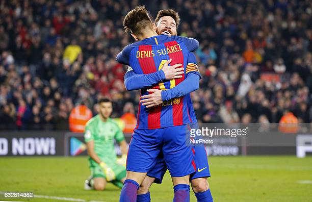 Denis Suarez and Leo Messi celebration during the 1/4 final King Cup match between FC Barcelona v Real Sociedad in Barcelona on January 26 2017
