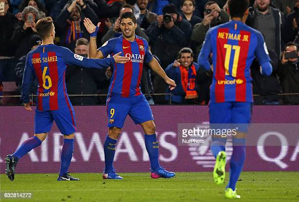 Denis Suarez and Luis Suarez celebration during the 1/4 final King Cup match between FC Barcelona v Real Sociedad in Barcelona on January 26 2017