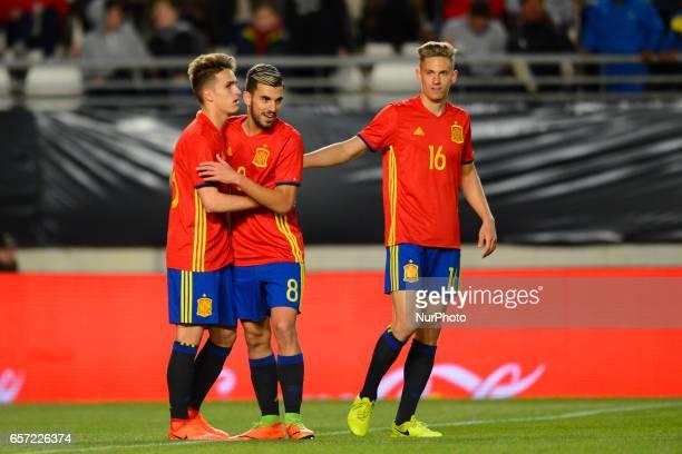 Denis Suarez Dani Ceballos Marcos Llorente during the friendly match of national teams U21 of Spain vs Denmark in stadium Nueva Condomina Murcia...
