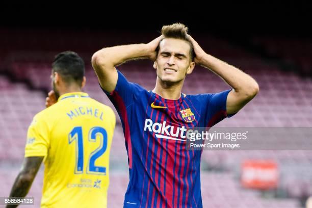 Denis Suarez Fernandez of FC Barcelona reacts during the La Liga 201718 match between FC Barcelona and Las Palmas at Camp Nou on 01 October 2017 in...