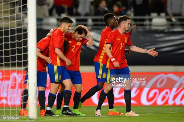 Denis Suarez Marco Asensio during the friendly match of national teams U21 of Spain vs Denmark in stadium Nueva Condomina Murcia SPAIN March 23rd 2017