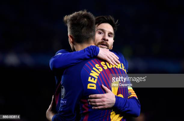 Denis Suarez of Barcelona and Lionel Messi of Barcelona celebrate their sides second goal during the UEFA Champions League group D match between FC...