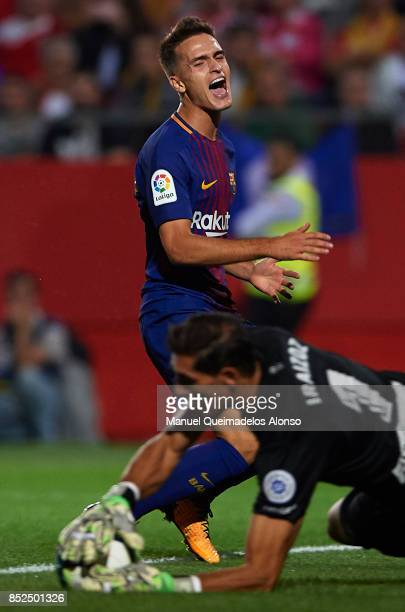 Denis Suarez of Barcelona reatcs during the La Liga match between Girona and Barcelona at Municipal de Montilivi Stadium on September 23 2017 in...