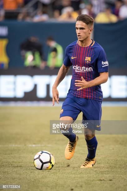 Denis Suarez of Barcelona takes the ball the pitch during the International Champions Cup match between FC Barcelona and Juventus at the MetLife...