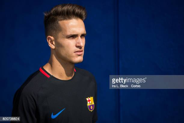 Denis Suarez of Barcelona takes the field during the International Champions Cup Barcelona training session prior to the match between FC Barcelona...