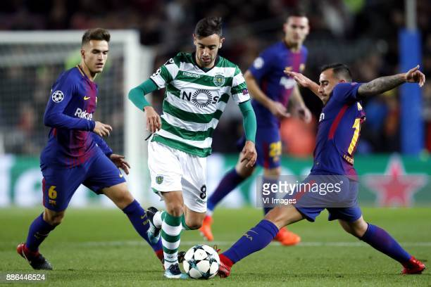 Denis Suarez of FC Barcelona Bruno Fernandes of Sporting Club de Portugal Paco Alcacer of FC Barcelona during the UEFA Champions League group D match...