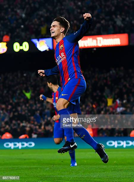 Denis Suarez of FC Barcelona celebrates after scoring his team's first goal during the Copa del Rey quarterfinal second leg match between FC...