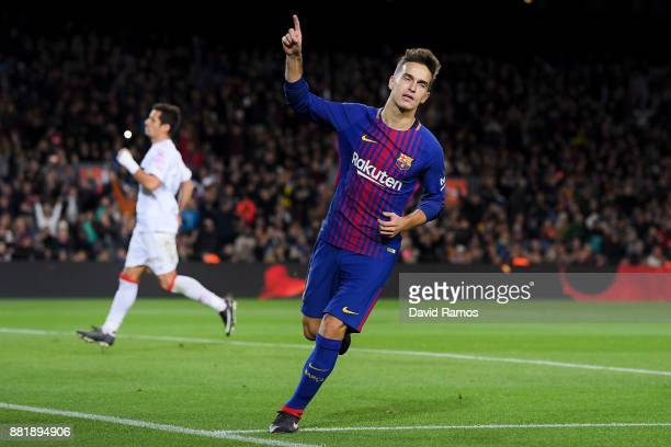 Denis Suarez of FC Barcelona celebrates after scoring his team's fourth goal during the Copa del Rey round of 32 second leg match between FC...