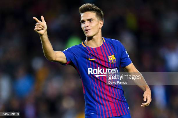 Denis Suarez of FC Barcelona celebrates after scoring his team's third goal during the La Liga match between Barcelona and SD Eibar at Camp Nou on...