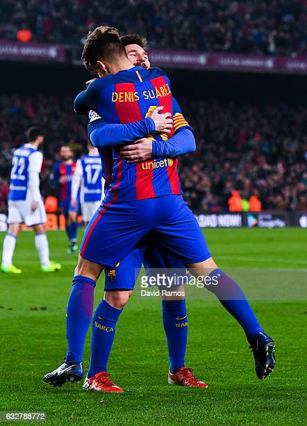Denis Suarez of FC Barcelona celebrates with his team mate Lionel Messi after scoring his team's fifth goal during the Copa del Rey quarterfinal...