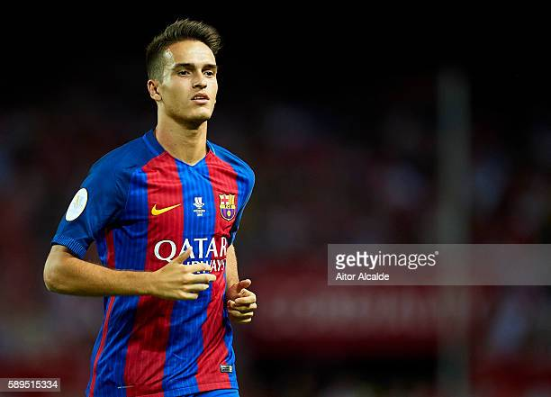 Denis Suarez of FC Barcelona looks on during the match between Sevilla FC vs FC Barcelona as part of the Spanish Super Cup Final 1st Leg at Estadio...