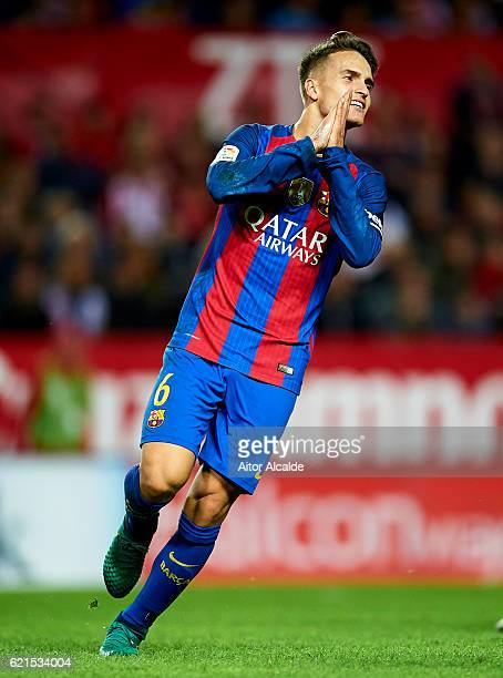 Denis Suarez of FC Barcelona reacts during the match between Sevilla FC vs FC Barcelona as part of La Liga at Ramon Sanchez Pizjuan Stadium on...