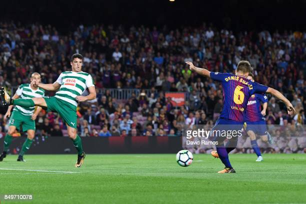 Denis Suarez of FC Barcelona scores his team's third goal during the La Liga match between Barcelona and SD Eibar at Camp Nou on September 19 2017 in...