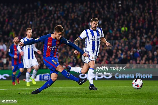 Denis Suarez of FC Barcelona scores the opening goa during the Copa del Rey quarterfinal second leg match between FC Barcelona and Real Sociedad at...