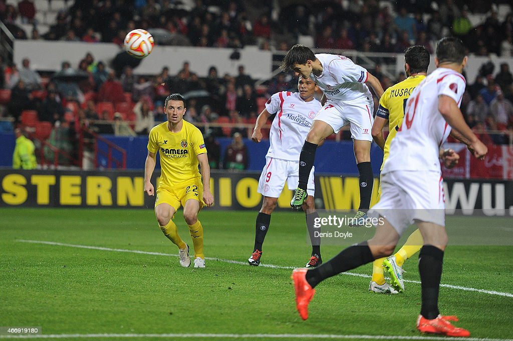 Denis Suarez of FC Sevilla scores his team's 2nd goal during the UEFA Europa League Round of 16 Second Leg match between FC Sevilla and Villarreal CF...