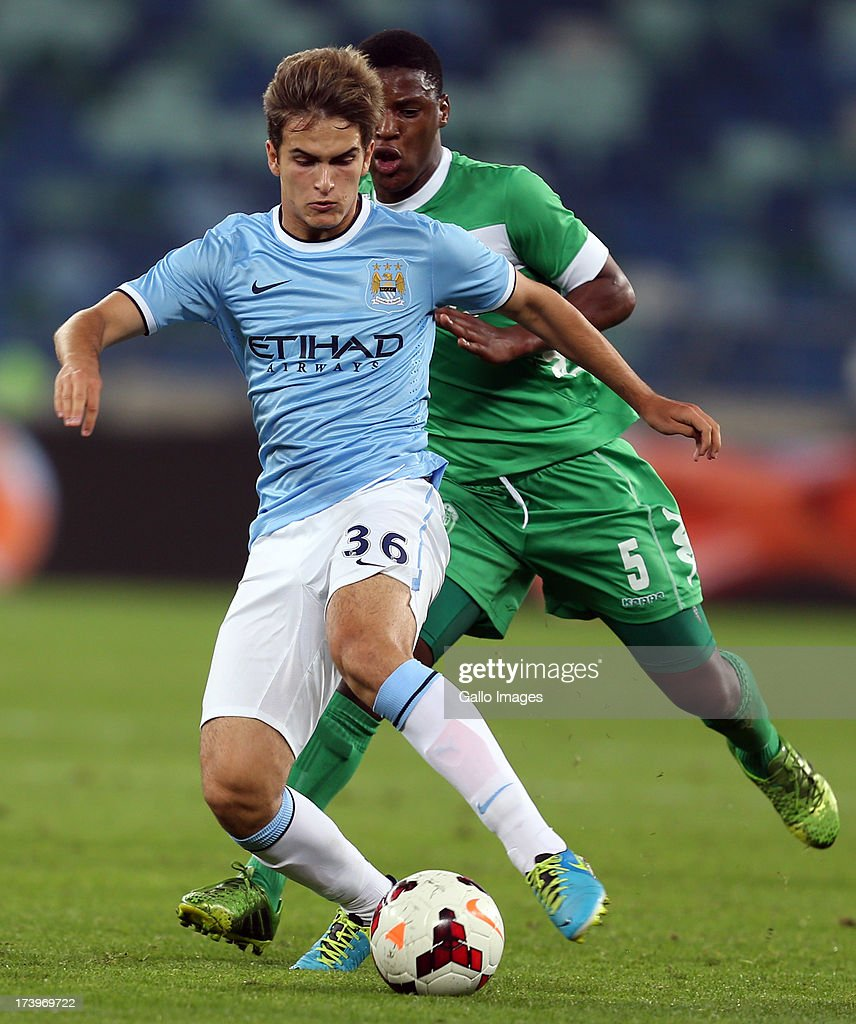 Denis Suarez of Manchester City during the Nelson Mandela Football Invitational match between AmaZulu and Manchester City at Moses Mabhida Stadium on July 18, 2013 in Durban, South Africa.