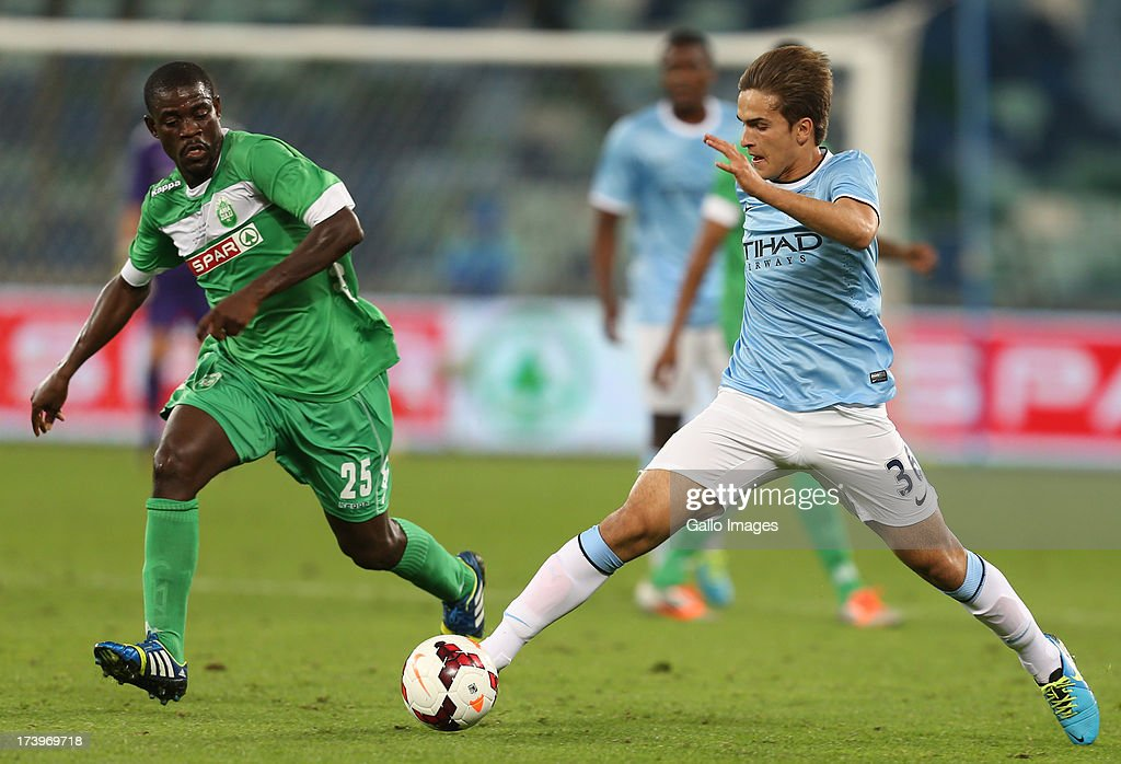 Denis Suarez of Manchester City on attack during the Nelson Mandela Football Invitational match between AmaZulu and Manchester City at Moses Mabhida Stadium on July 18, 2013 in Durban, South Africa.
