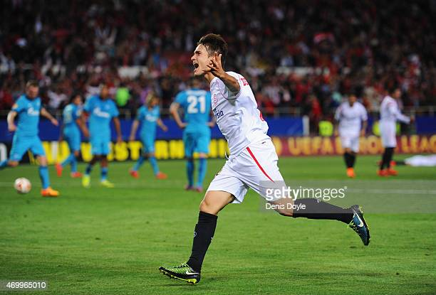 Denis Suarez of Sevilla celebrates as he score their second goal during the UEFA Europa League Quarter Final first leg match between FC Sevilla and...