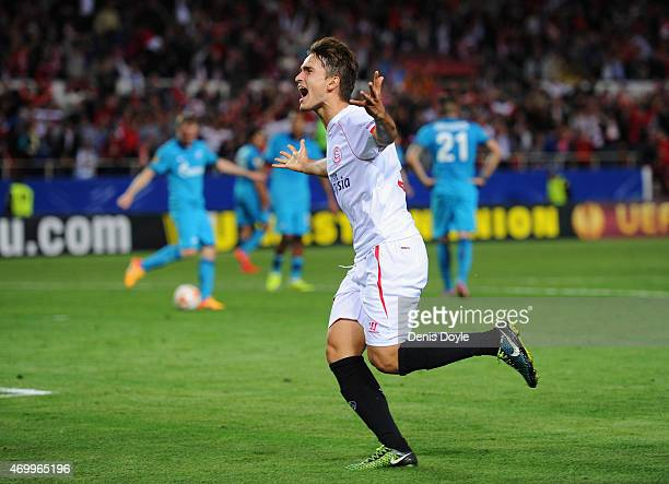 Denis Suarez of Sevilla celebrates as he scores their second goal during the UEFA Europa League Quarter Final first leg match between FC Sevilla and...