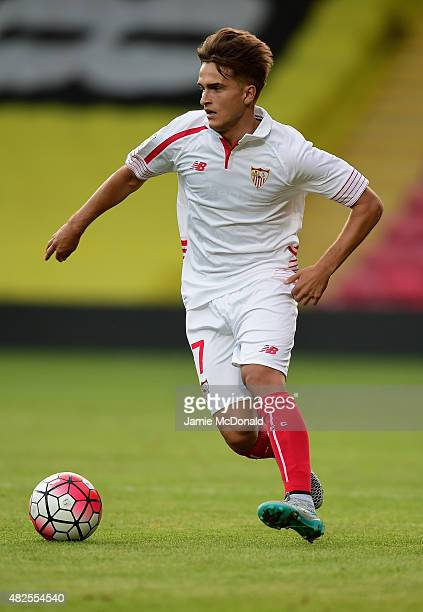 Denis Suarez of Sevilla in action during the pre season match beween Watford and Sevilla at Vicarage Road on July 31 2015 in Watford England